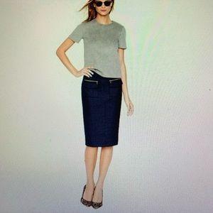 J Crew wool skirt with zipper detail, size 0
